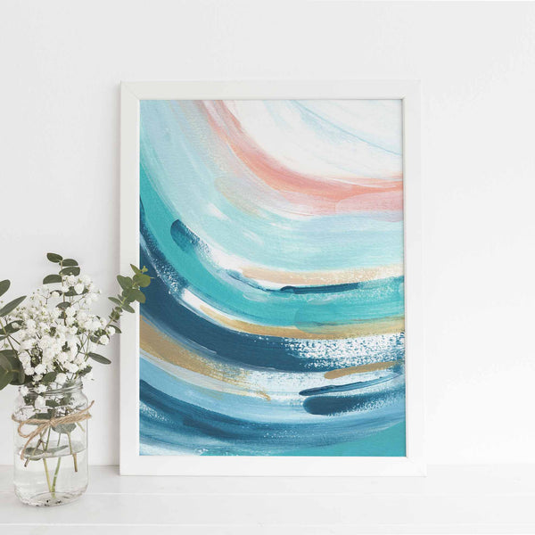 Abstract Wave Swell Trendy Ocean Painting Wall Art Print or Canvas - Jetty Home