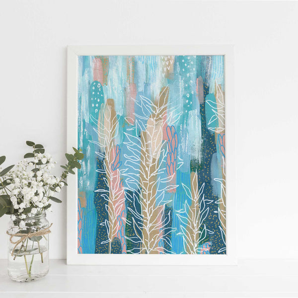 Abstract Underwater Ocean Painting Blue Turquoise Wall Art Print or Canvas - Jetty Home