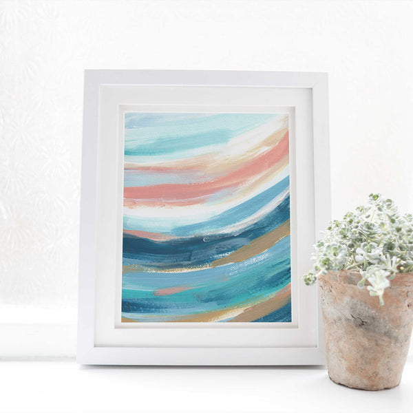 Modern Abstract Beach Ocean Waves Swell Painting Wall Art Print - Jetty Home