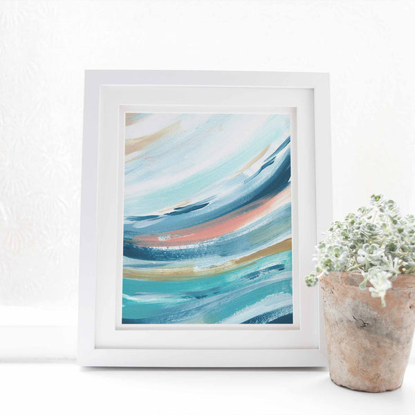Contemporary Beach House Swell Wave Painting Wall Art Print - Jetty Home