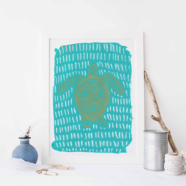 Turquoise Sea Turtle Modern Painting Wall Art Print or Canvas - Jetty Home