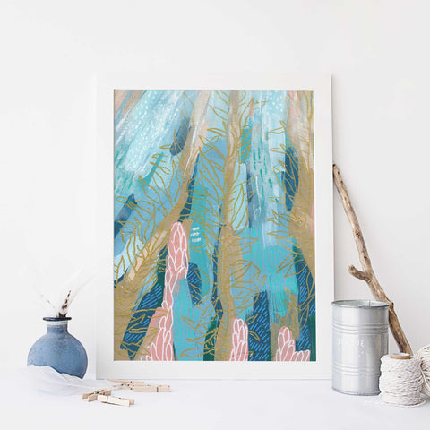 Abstract Ocean Scene Underwater Sea Life Wall Art Print - Jetty Home