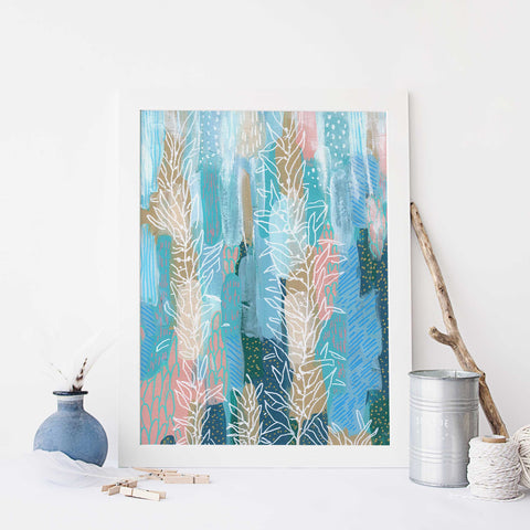 Sea Life Underwater Scene Modern Ocean Painting Wall Art Print or Canvas - Jetty Home