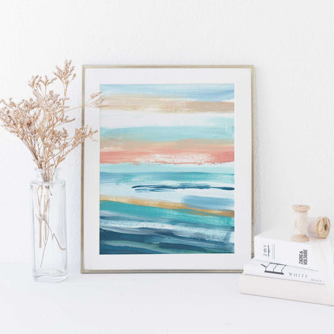 Modern Seascape Blue, Turquoise and Salmon Pink Painting Wall Art Print - Jetty Home