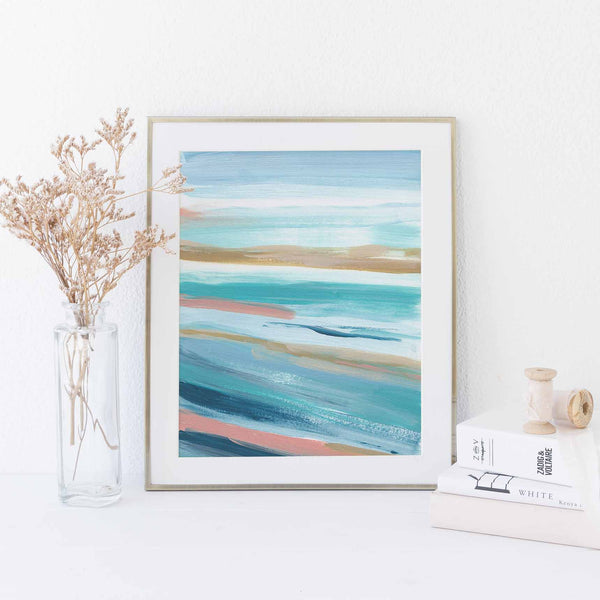 Abstract Seascape Beach Painting Turquoise Salmon Pink Wall Art Print or Canvas - Jetty Home