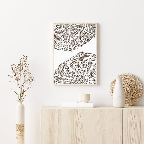 Tree Ring Drawing Modern Forest Wall Art Print or Canvas - Jetty Home