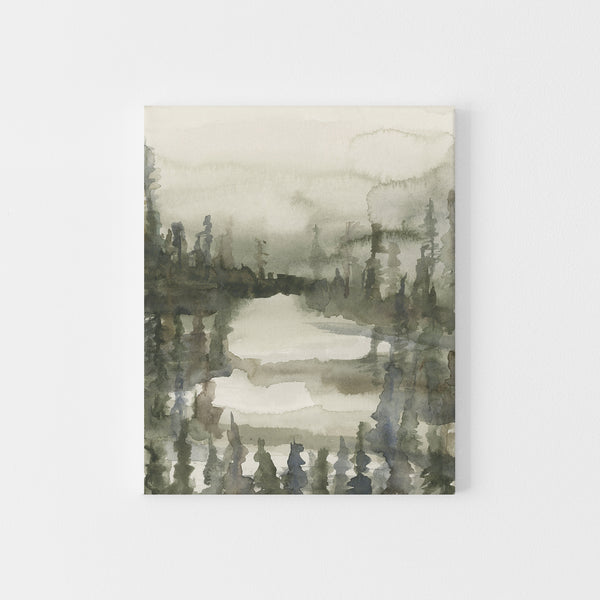 Misty Forest Pine Tree Line Watercolor Painting Wall Art Print or Canvas - Jetty Home