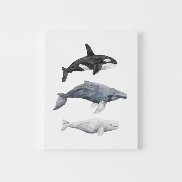 Whale Trio Watercolor Print or Canvas - Jetty Home