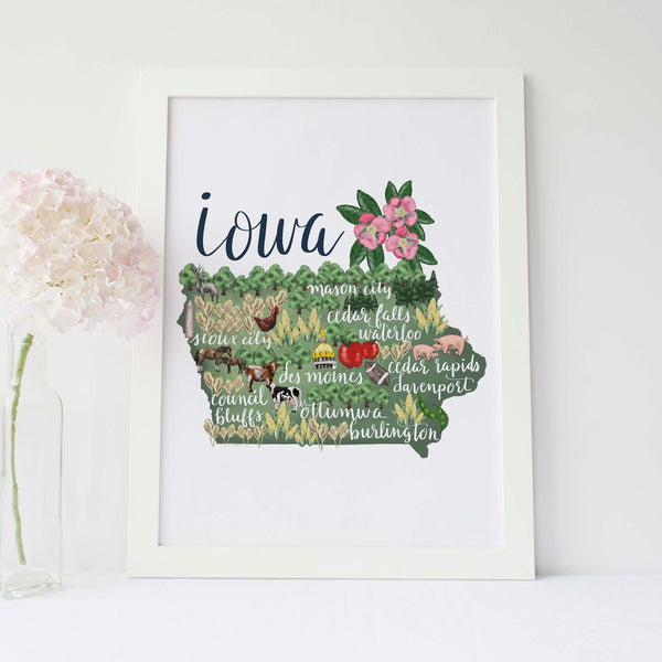 Iowa State Map Art Print - Jetty Home