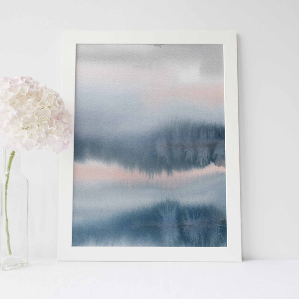 Modern Watercolor Pink, Blue and Gray Abstract Wall Art Print or Canvas - Jetty Home
