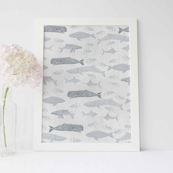 Gray and Ivory Whale Pattern Modern Coastal Wall Art Print or Canvas - Jetty Home
