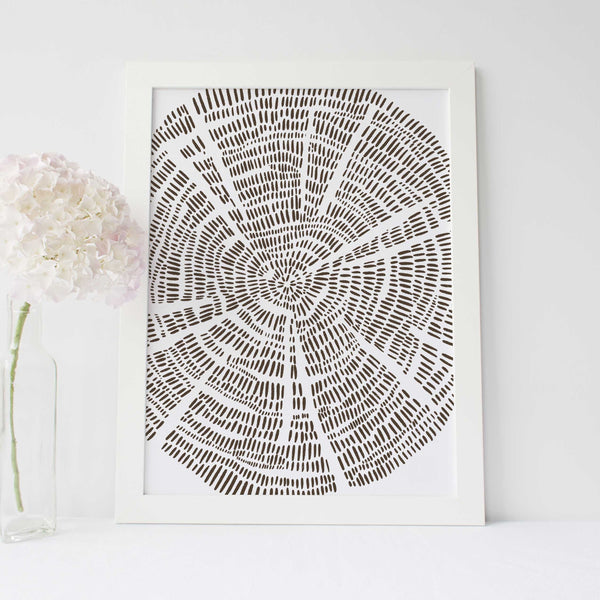 Modern Tree Ring Growth Forest Drawing Wall Art Print or Canvas - Jetty Home