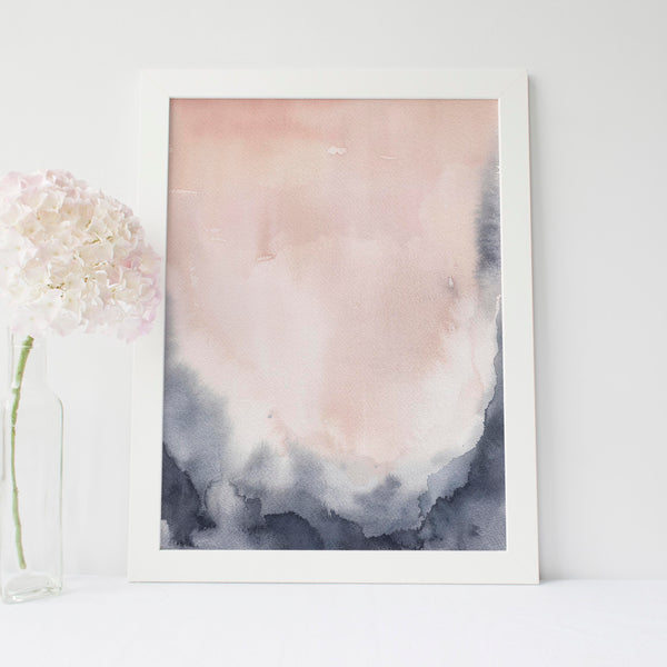 Modern Abstract Blush + Indigo Art Print - Jetty Home