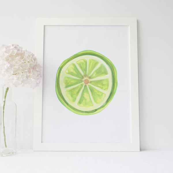 Watercolor Lime Slice Art Print