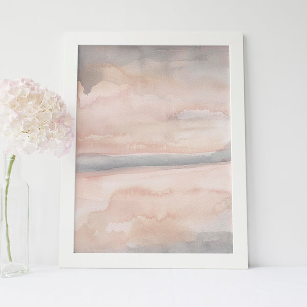 Neutral Blush Contemporary Watercolor Art Print - Jetty Home