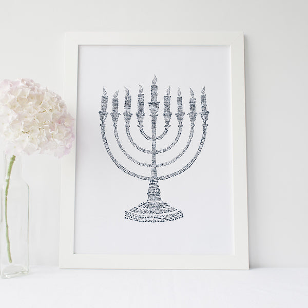 Blue and White Modern Menorah Hanukkah Wall Art Print or Canvas - Jetty Home