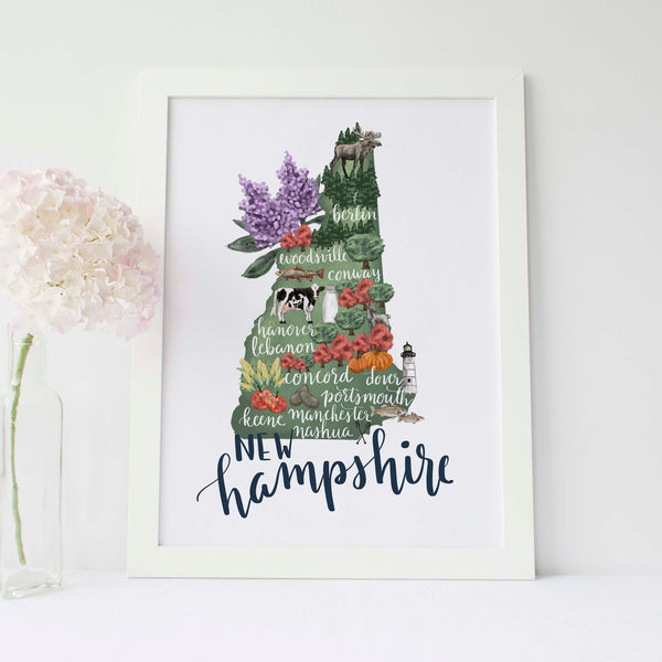 New Hampshire State Map Art Print - Jetty Home