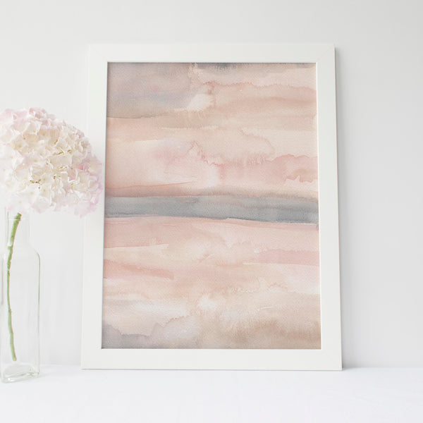 Neutral Blush Abstract Painting Art Print - Jetty Home