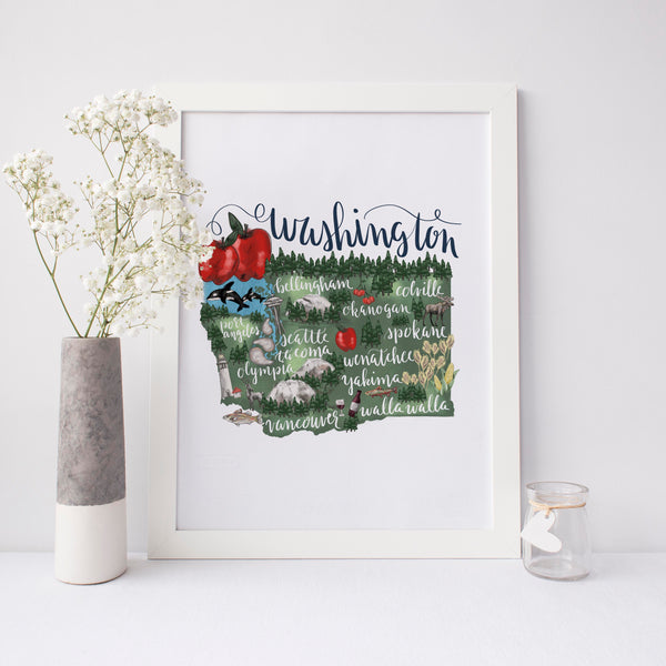 Washington State Map Art Print - Jetty Home