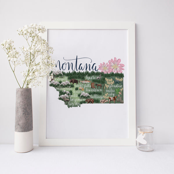 Montana State Map Art Print - Jetty Home