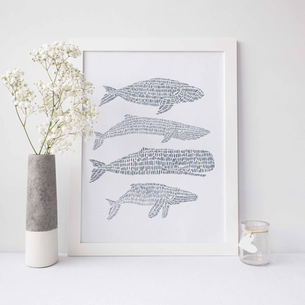 Modern Whale Drawing Blue and White Nautical Wall Art Print or Canvas - Jetty Home