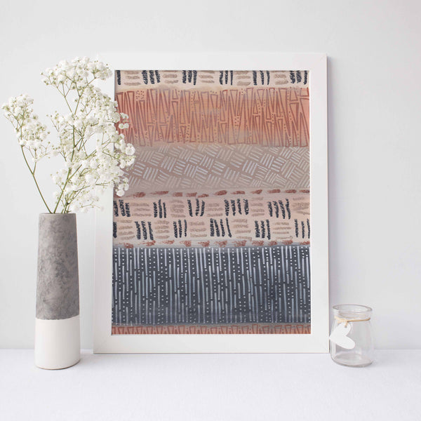 Modern Southwestern Aztec Tribal Pattern Wall Art Print or Canvas - Jetty Home