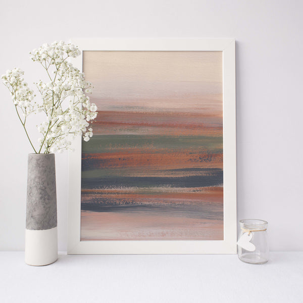 Modern Abstract Desert Landscape Painting Neutral Beige Wall Art Print or Canvas - Jetty Home