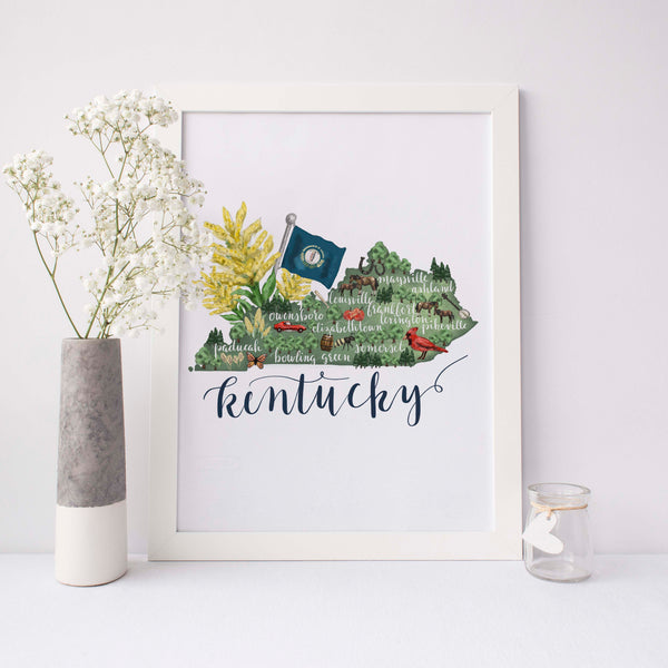 Kentucky State Map Art Print - Jetty Home