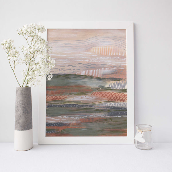 Neutral Abstract Painting Desert Landscape Wall Art Print or Canvas - Jetty Home