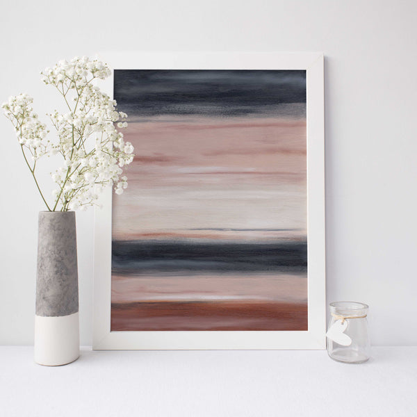 Neutral Beige and Navy Abstract Desert Landscape Wall Art Print or Canvas - Jetty Home