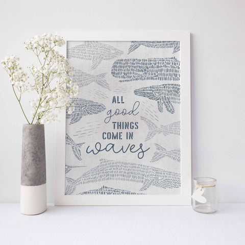 All Good Things Come in Waves Modern Nautical Whale Wall Art Print or Canvas - Jetty Home