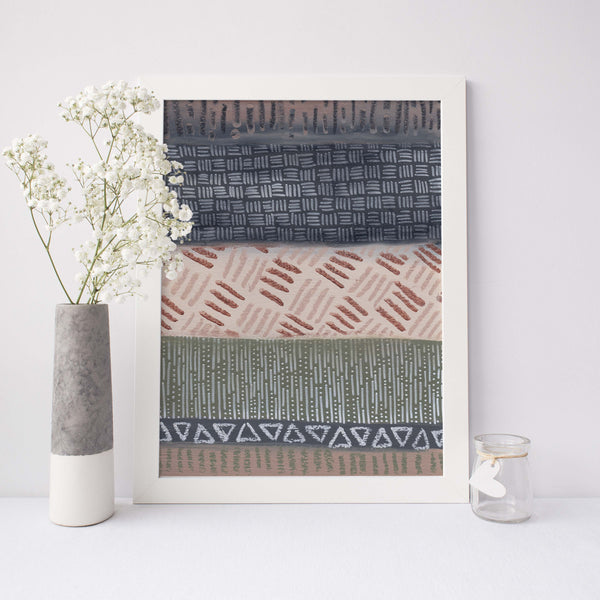 Earth Tones Modern Tribal Southwestern Pattern Wall Art Print or Canvas - Jetty Home