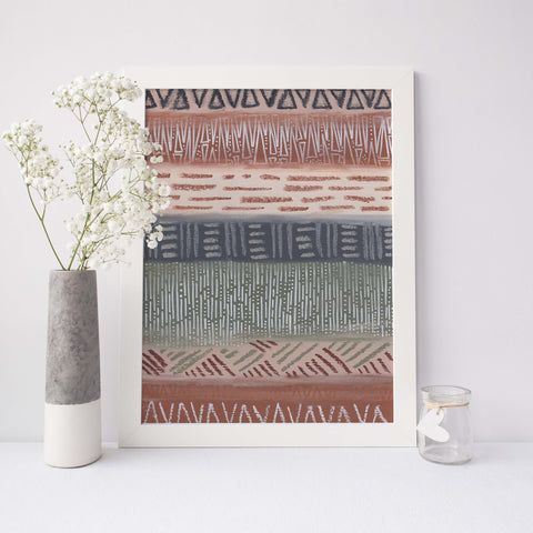Modern Chic Southwestern Tribal Pattern Neutral Wall Art Print - Jetty Home
