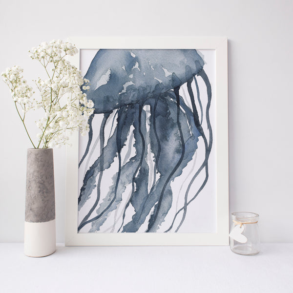 Blue Watercolor Jellyfish Modern Art Print - Jetty Home