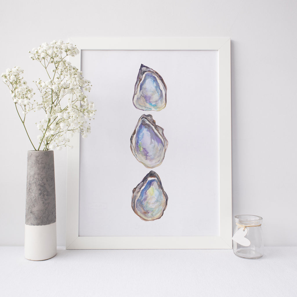 Watercolor Pearl Oyster Art Print or Canvas - Jetty Home