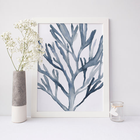Blue Seaweed Coral Watercolor Art Print - Jetty Home