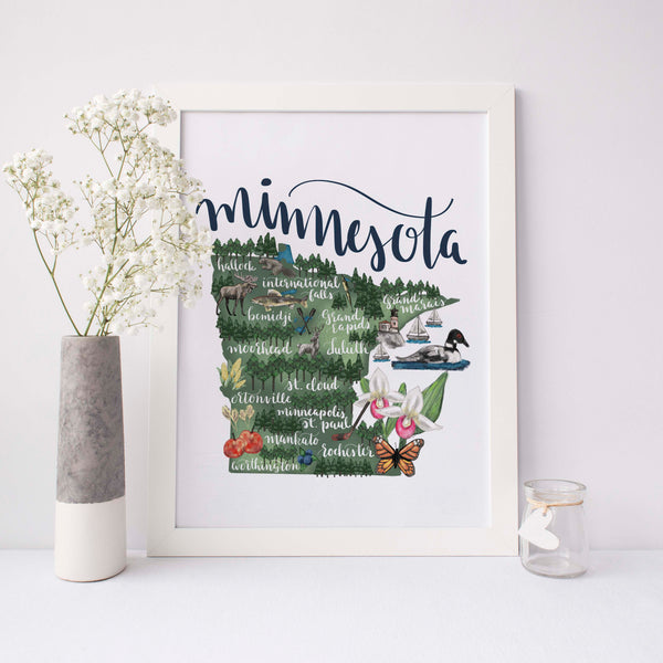 Minnesota State Map Art Print - Jetty Home