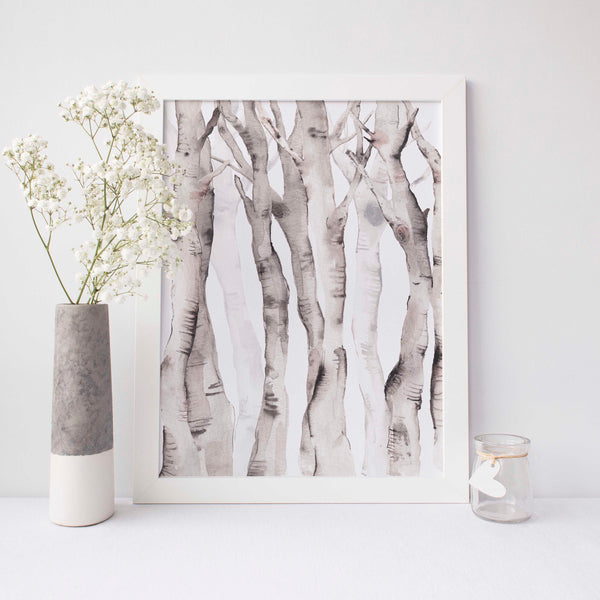 Watercolor Aspen Birch Tree Lodge Wall Art Print - Jetty Home