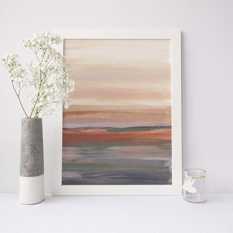 Neutral Earthy Desert Landscape Modern Abstract Painting Wall Art Print or Canvas - Jetty Home