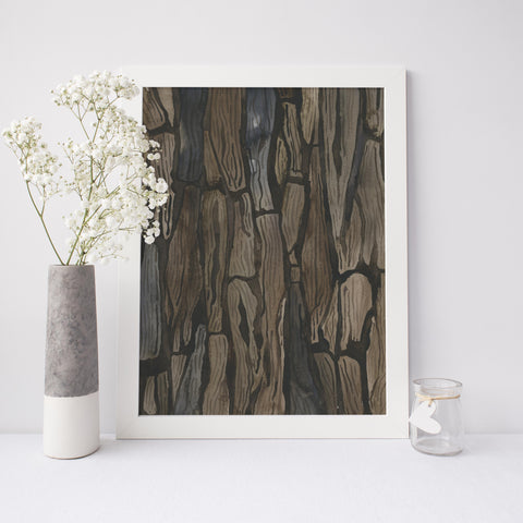 Watercolor Tree Bark Painting 2 Wall Art Print or Canvas - Jetty Home