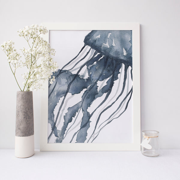 Indigo Blue Watercolor Jelly Fish Art Print or Canvas - Jetty Home
