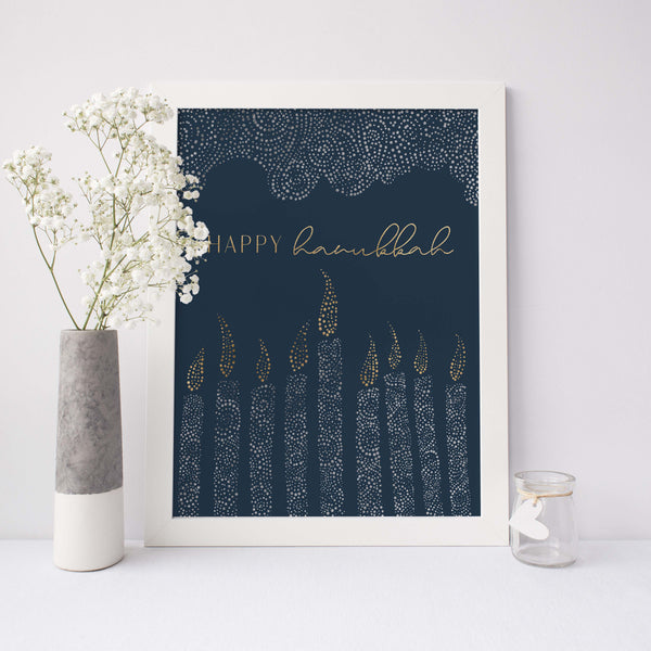 Happy Hanukkah Menorah Blue and Gold Wall Art Print or Canvas - Jetty Home