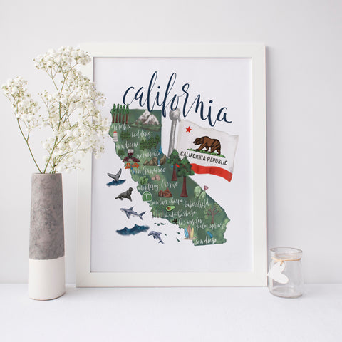 California State Map Art Print - Jetty Home