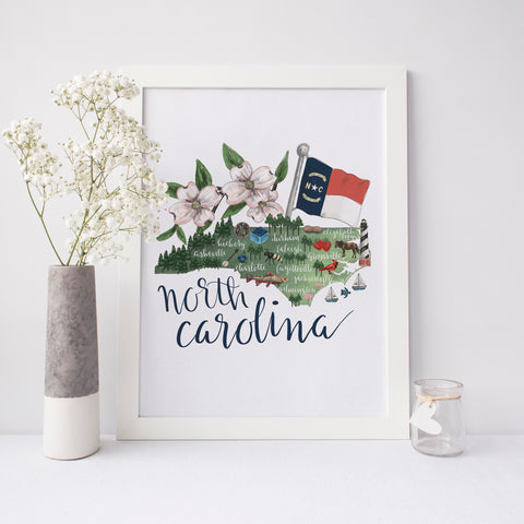 North Carolina State Map Wall Art Print - Jetty Home