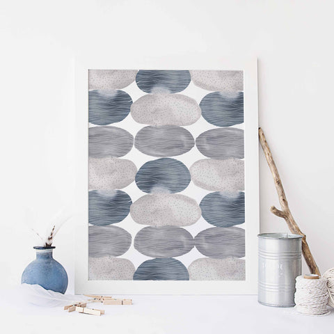 Watercolor Circles Abstract Modern Artwork Trendy Wall Art Print or Canvas - Jetty Home