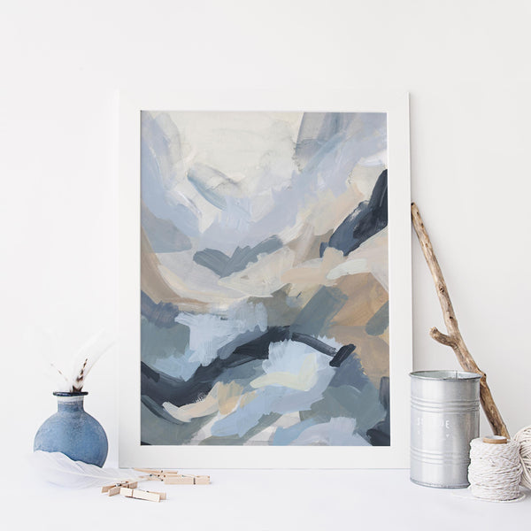 Modern Coastal Shallows Water Ocean Painting Blue Wall Art Print or Canvas - Jetty Home