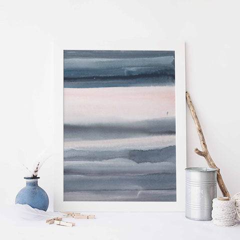 Blue and Pink Modern Abstract Watercolor Beach Inspired Wall Art Print or Canvas - Jetty Home