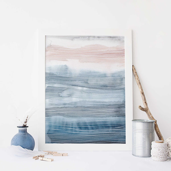 Modern Coastal Ocean Watercolor Painting Wall Art Print or Canvas - Jetty Home