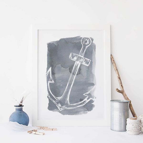 Watercolor Anchor Illustration Nautical Wall Art Print or Canvas - Jetty Home