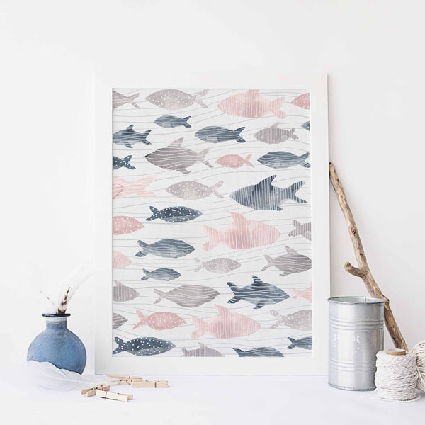 Modern Nursery Beach Fish Abstract Wall Art Print or Canvas - Jetty Home